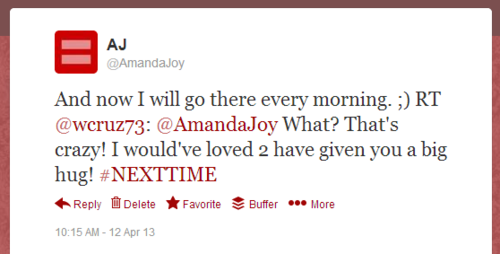 Twitter   AmandaJoy  And now I will go there every ...