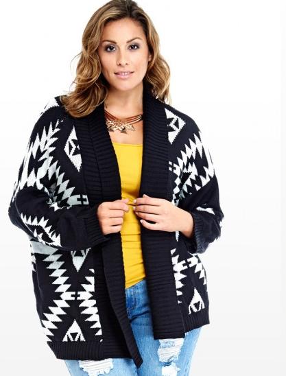 Plus Size Aztec Shawl Cardigan   Fashion To Figure