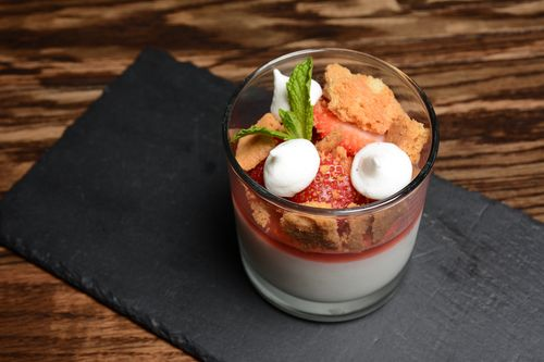 The Corner Door - Buttermilk Strawberry Panna Cotta